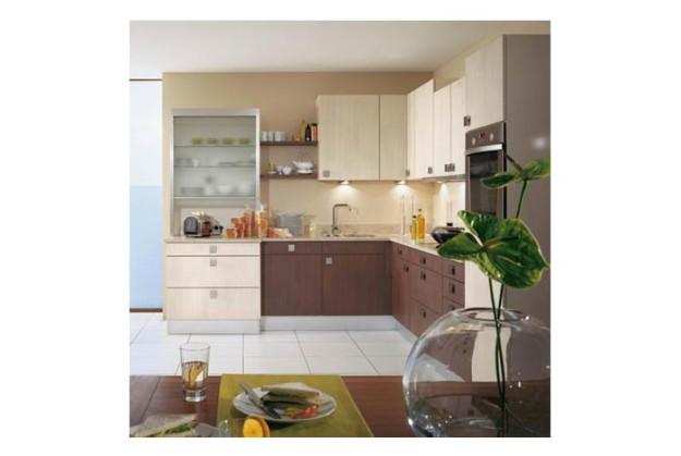 Угловая кухня с комбинированным фасадом
