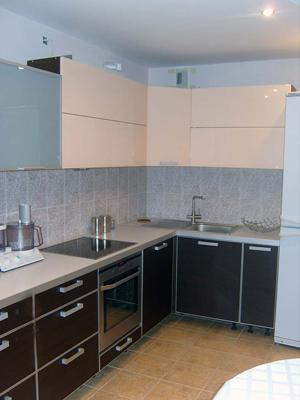 Угловая кухня с металлической фурнитурой