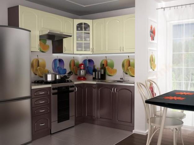Угловая кухня серо-желтая