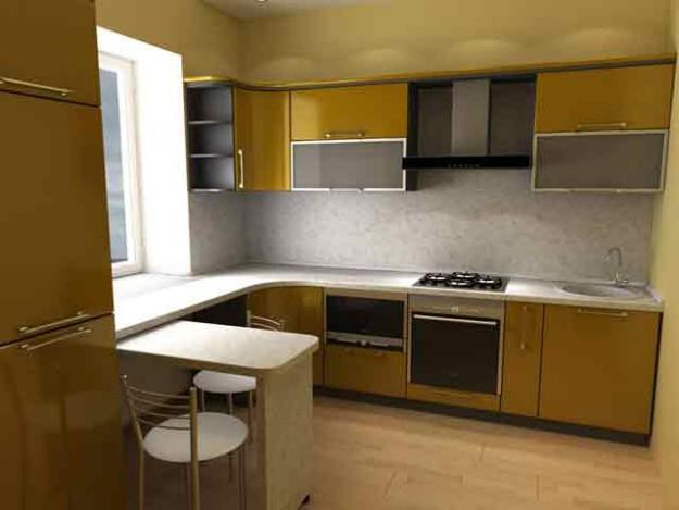Угловая кухня спокойно-золотистого цвета