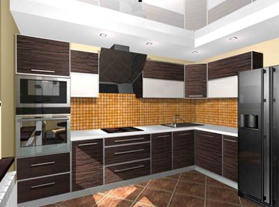 Угловая кухня в цвете «Зебрано»