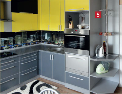 Угловая кухня желтая