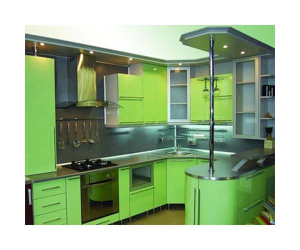 Угловая П-образная кухня салатовая К-19