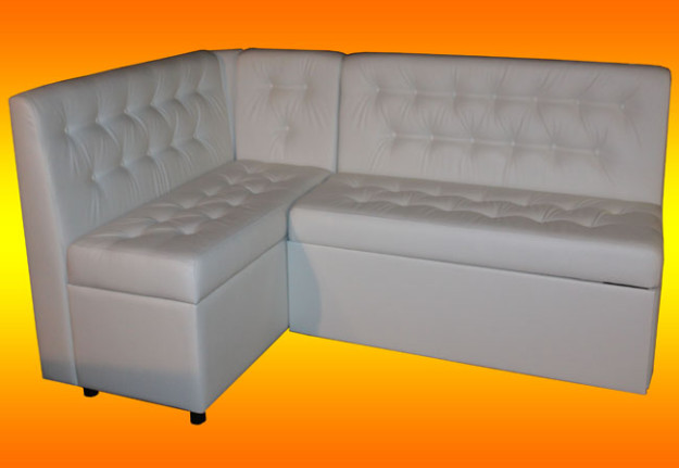 Угловой белый диван для кухни «Смайл»