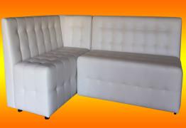 Угловой диван для кухни белого цвета