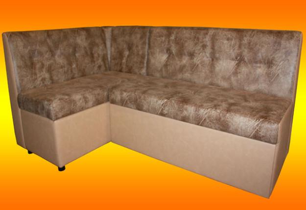 Угловой кухонный диван светло-коричневого цвета