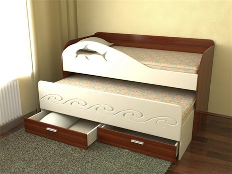 Выдвижная детская двуспальная кровать